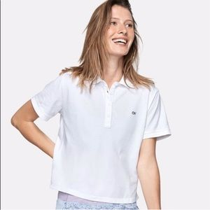 Outdoor Voices women's white crop polo Small